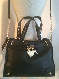 Juicy Couture Authentic Soft Black Leather Mini Daydreamer Handbag New! $228