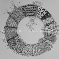 Tangled wreath, by Kim Dever Thibodeaux #doodle #zentangle