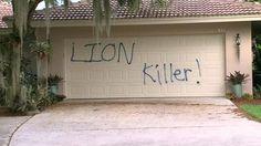 Aparecen pintadas en la casa de Walter Palmer, el dentista que mató al león Cecil