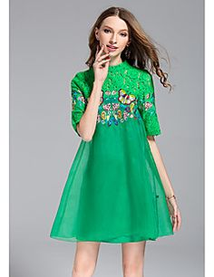 JOJO+HANS+Women's+Going+out+Casual/Daily+Vintage+Cute+Loose+DressEmbroidery+Round+Neck+Above+Knee+Half+Sleeve+Polyester+Organza+Spring+High+Rise+–+GBP+£+42.20