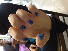 Commission; quite  blue nail art (made by me, friends nails)