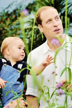 Prince George and Prince William in the official portrait released to celebrate Prince George's First Birthday on 22nd July 2014.