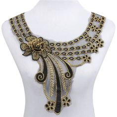 Cheap neckline collar, Buy Quality lace neckline directly from China lace neckline collar Suppliers: Smiry Hot Sale Craft Gold Collar Venise Rose Floral Lace Applique Trim Decorated Lace Neckline Collar Sewing Dress Decor Embroidery Neck Designs, Bead Embroidery Patterns, White Embroidery, Beaded Embroidery, Gold Collar, Lace Collar, Embroidered Lace Fabric, Lace Applique, Irish Crochet