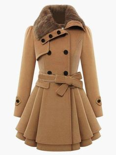 Shop Khaki Long Sleeve Double Breasted Tie-Waist Coat at victoriaswing, personal womens clothing online store! high quality, cheap and big discount, latest fashional style!