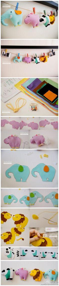 韩国手作者用不同颜色的不织布DIY出了造型别致的小动物。只要跟着步骤图动手做,你也一定可以做出这四只可爱的小萌物。