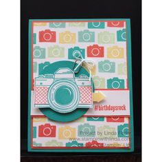 Camera Birthday Card with Stampin' Up! Snapshot, Project Life Point & Click, and #hello Sets/ www.stampinwithlinda.com
