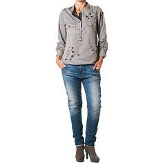 skjorte grå l Plus fine/Mille