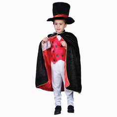This eye-catching magician costume is both flame retardant and machine washable, making it safe to wear indoors or outdoors. It comes complete with a wand, top hat, vest and cape which saves you the hassle of having to shop for any additional items.