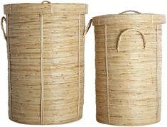 2 paniers à linge Chaka en rotin et bambou - House Doctor