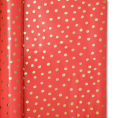 Sugar Paper Coral and Gold Dots Gift Wrap