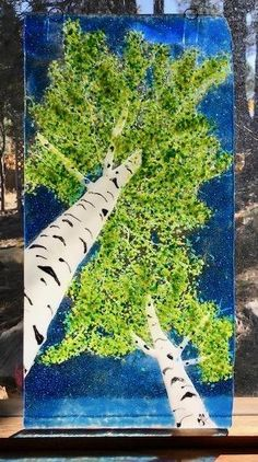 I adore lying in grass looking skyward when the aspen trees in late summer begin changing colors. I can do this in my own yard or I can drive up to the San Francisco peaks and do it in a hundred places! Or, you can purchase this fused glass piece and see it everyday without lying