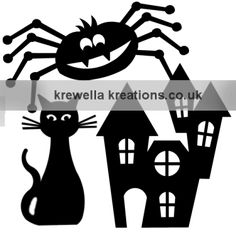 FREE HALLOWEEN TEMPLATES » Krewella Kreations. Cat, spider, haunted house. *