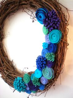 peacock wreath, felt flower wreath, holiday wreath, grapevine wreath, purple, blue, turquoise via Etsy
