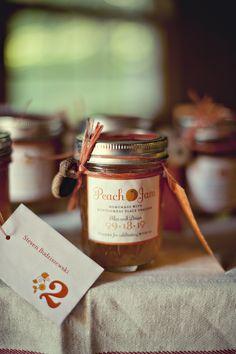 jar of peach jam given as a wedding favor - wedding photo by top Atlanta based wedding photographers Scobey Photography