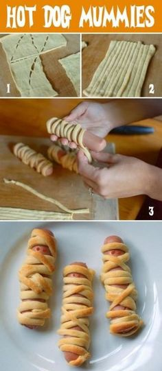 Hot Dog Mummies Pigs in a blanket, Halloween style! What a fun party idea or after school snack for the k Hot Dog Mummies Pigs in a blanket, Halloween style! What a fun party idea or after school snack for the kids. Bonus: these hot dog mummies a. Halloween Snacks For Kids, Halloween Dinner, Halloween Goodies, Halloween Birthday, Halloween Halloween, Halloween Party Foods, Healthy Halloween Treats, Party Food For Kids, Halloween Food Ideas For Kids