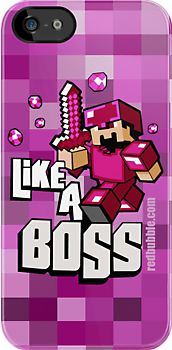 Purple and Pink minecraft 8bit game like a Boss apple iphone 3, 4 4s, 5 ipod 4 case