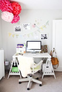 Colour scheme - Grey walls, white vintage door, White tables (hard to keep clean for a desk), re-fabricated chair