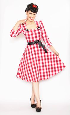 YOU PICKED IT!! Rockabilly Girl by Bernie Dexter**40's Style Red Gingham Print Lana Dress
