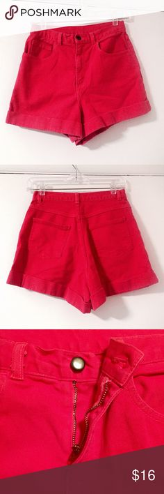 "American Apparel High Waist Shorts Red Denim AA red denim high waisted shorts in a bright and slightly faded red color. Zip fly, sits at true waist. Runs a little larg from labeled size, waist measures about 28"" around. One back pocket came loose at corner but otherwise in great shape. American Apparel Shorts Jean Shorts"