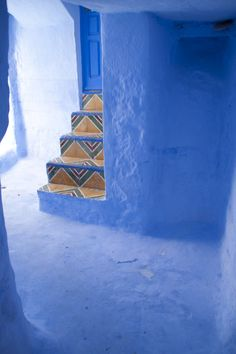 Untitled by roberto vincitore, via Treads And Risers, Moroccan Blue, Color Stories, Beautiful Space, Stairways, Interior And Exterior, Interior Decorating, House Design, Architecture