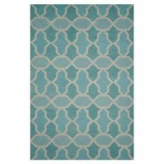 Wool rug with a geometric motif. Hand-tufted in India.  Product: RugConstruction Material: WoolColor: Aqua Note: Please be aware that actual colors may vary from those shown on your screen. Accent rugs may also not show the entire pattern that the corresponding area rugs have.Cleaning and Care: Clean spills immediately by blotting with a clean sponge or cloth. Vacuum carefully without beater bar. Expect shedding. Professional cleaning recommended. Rug pad recommended for use on hard floor.