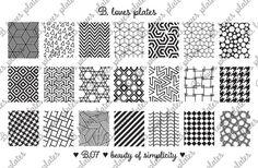B. Loves Plates - B.07 - beauty of simplicity ♥  Plate size: 9,5cm x 14,5cm Number of patterns: 21 Pattern size: 1,6cm / 1,7cm x 2,0cm / 2,1cm