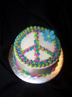 Peace Sign - MUST make this cake! I hope this is my bday cake. Peace Sign Cakes, Peace Cake, Cupcakes, Cake Cookies, Cupcake Cakes, Woodstock, Hippie Cake, Hippie Birthday, Birthday Cake Girls