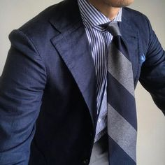 "shibumi-firenze: ""@nfld_rm55 wearing our navy/grey mottled garza fina block stripe tie. Available at shibumi-firenze.com #menswear #shibumi """