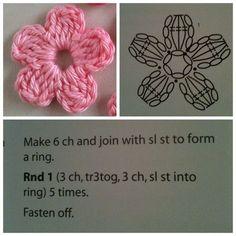Crochet & knitting — maria-cro: pattern for the cute flowers :) i. Crochet Small Flower, Crochet Simple, Crochet Flower Tutorial, Crochet Flower Patterns, Love Crochet, Crochet Designs, Crochet Flowers, Crochet Baby, Crochet Leaves