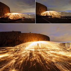 Twilight photos from Dún Laoghaire using long exposures and Steel Wool spinning. From the Forty Foot in Sandycove and Coliemore Harbour