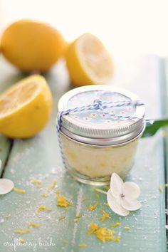 Craftberry Bush: Super easy sugar lemon scrub recipe  http://www.craftberrybush.com/2013/04/super-easy-sugar-lemon-scrub-recipe.html