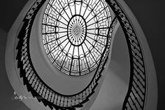 Amazing spiral staircase at the W Hotel in Washington, DC. Black and White Print. Fine art print. Professionally printed upon order. My photographs are professionally printed with archival inks on pre