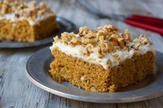 Pumpkin cake bars with cream cheese frosting. A moist, deep-gold cake-type bar topped with rich frosting, perfect for autumn. Pumpkin Bundt Cake, Pumpkin Scones, Pumpkin Bars, Pumpkin Puree, Pumpkin Squares, Pumpkin Pumpkin, Pumpkin Bread, Pumpkin Spice, Pumpkin Recipes