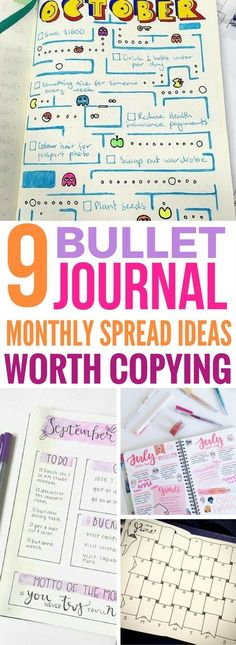 These Bullet Journal Monthly Spread Layout Ideas are so AWESOME. The Pacman one is so creative! Absolutely LOVE it to bits! Great way to get a little bullet journal inspiration.