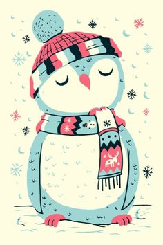 owl in the snow by Greg Abbott Illustration Mignonne, Illustration Noel, Christmas Illustration, Illustrations, Winter Illustration, Pinguin Drawing, Art Mignon, Penguin Love, Penguin Art