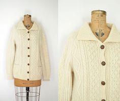 Vintage Irish Fisherman's Sweater / 1970s Cream by FemaleHysteria, $68.00