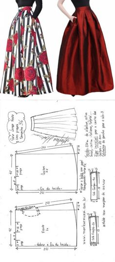 Excellent Totally Free Sewing clothes diy Style Saia Longa com pregas Skirt Patterns Sewing, Sewing Patterns Free, Clothing Patterns, Free Pattern, Skirt Sewing, Pattern Ideas, Pattern Skirt, Pattern Sewing, Coat Patterns