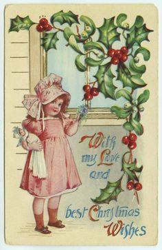 christmas greeting little girl holding her doll window holly mistletoe embossed christmas christmas postcards