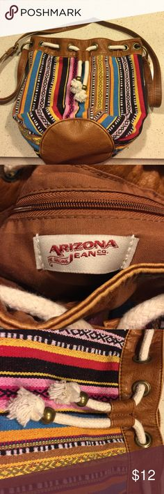 Arizona tribal synch purse. Excellent condition drawstring purse.  8 inches deep 7 wide, zipper pocket inside.  Adorable! Arizona Jean Company Bags Shoulder Bags