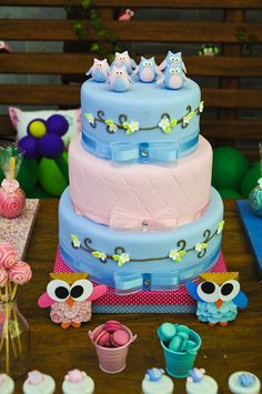 Adorable cake at an Owl Party #owl #partycake