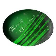 Green Merry Christmas Porcelain Serving Platter