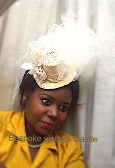 Top hat champagne, veil, altertinative bride, bred, wedding, couture, Victorian,shabby chic, Georgian.marie Antoinette  on Etsy, £45.90