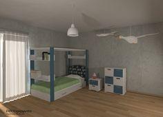 Σύνθεση επίπλων σε παιδικό  δωμάτιο σε συνδυασμό λευκής και πετρόλ απόχρωσης λάκα