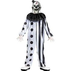 Killer Clown Child Costume Halloween Scary Boys Horror Kids Black White Medium