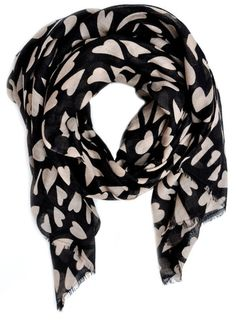 Heart Print Wool-Silk Scarf