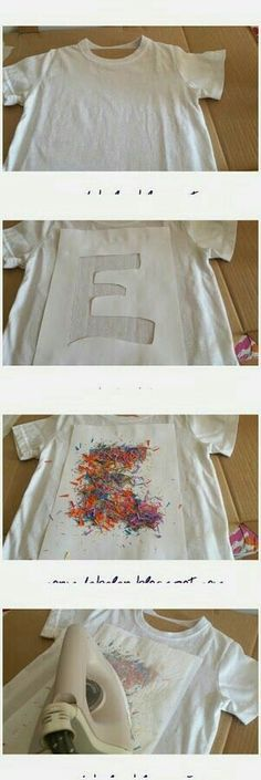 Un tutorial muy sencillo: Cómo decorar camisetas<<<<imma translate: a tutorial somethin somethin: to decorate shirts. Sorry I only took one year of spanish! Diy And Crafts, Crafts For Kids, Arts And Crafts, Diy Kleidung, Diy Vetement, Diy Shirt, Diy Tshirt Ideas, Diy Tank, Diy Clothing