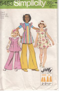 Items similar to Girl's Jiffy Sewing Pattern - Smock Dress or Tunic and Bell Bottom Pants - Simplicity 5483 - Size Breast 28 on Etsy Childrens Sewing Patterns, Vintage Sewing Patterns, Sewing For Kids, Clothing Patterns, Bell Bottom Pants, Bell Bottoms, Girls Smocked Dresses, Baby Dresses, Handmade Beaded Jewelry