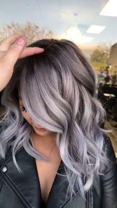 silver hair Hair Color Highlights For Grey Going Gray Ideas Hair Color Highlights, Ombre Hair Color, Hair Color Balayage, Silver Highlights, Haircolor, Ash Balayage, Fall Hair Colors, Brown Hair Colors, Hair Color 2018