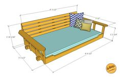 Take a few days on a weekend to make this porch bed swing. We have the plan and a video to help make your porch bed swing. Porch Bed Swing Plans, Patio Swing, Bed Plans, Backyard Swings, Bed Swings, Porch Swings, Swing Beds, Outdoor Swings, Pergola