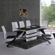 paris extending black glass dining table 4 black romeo chairs